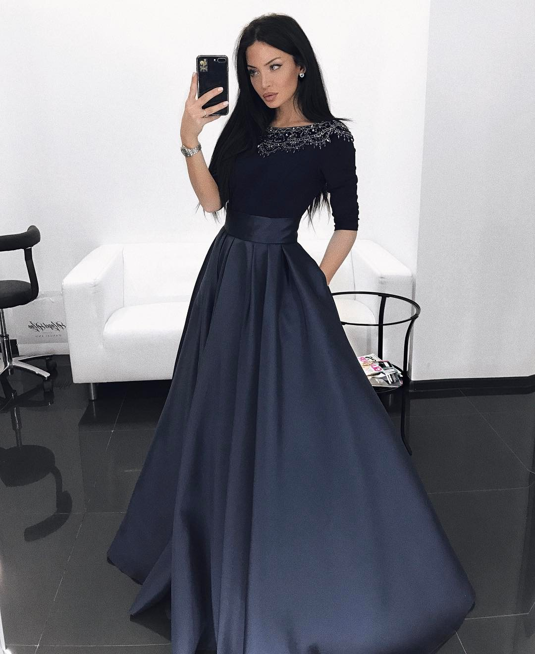 74a2817b0ce4dd Beaded Navy Blue Bateau Long Sleeves Prom Dress