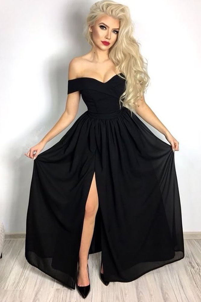 7f27e4f6f0cf Black Formal Evening Gown Off The Shoulder Long Prom Dress, Party Dress  With Side Slit