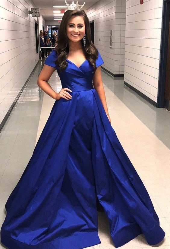 cb35dbba2be 2019 Gorgeous Cap Sleeve Prom Dress Royal Blue Formal Evening Gown A Line  Wedding Party Dress