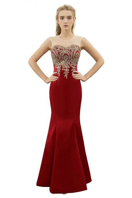 New Arrival Red Illusion Prom Dress Mermaid Formal Gown With Beaded Appliques Bodice