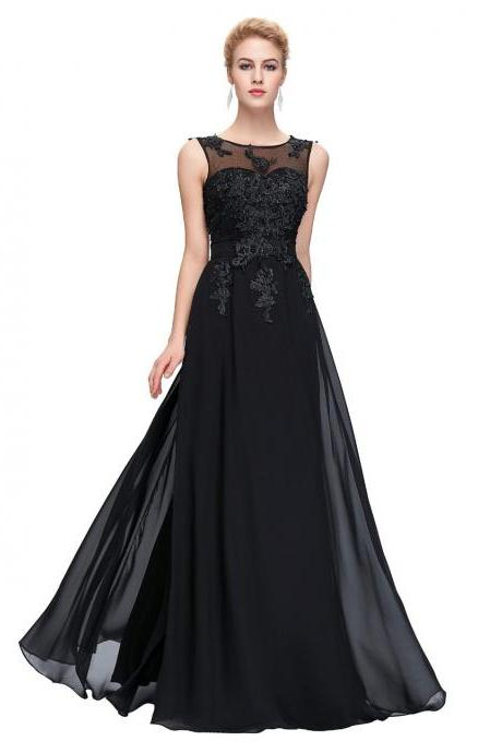 Black Illusion Chiffon Floor Length Prom Dress, Formal Gown,Evening Dress With Lace Appliques