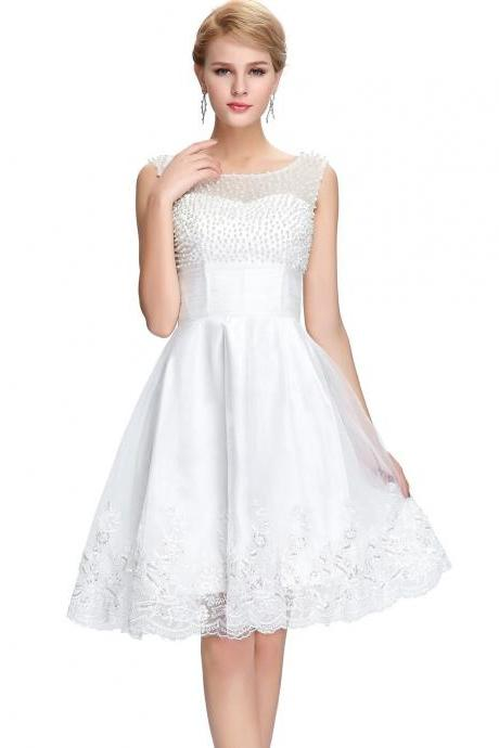 Beaded White Bateau Tulle Homecoming Dress,Knee Length A Line Party Dress With V Back
