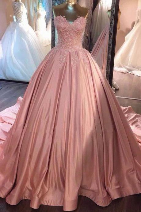 Pink Sweetheart Ball Gown Prom Dress, Sweep Train Wedding Dress With Lace Appliques Bodice
