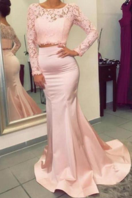 Pink Two Piece Long Sleeves Mermaid Prom Dress,Mermaid Formal Gown With Lace Crop Top