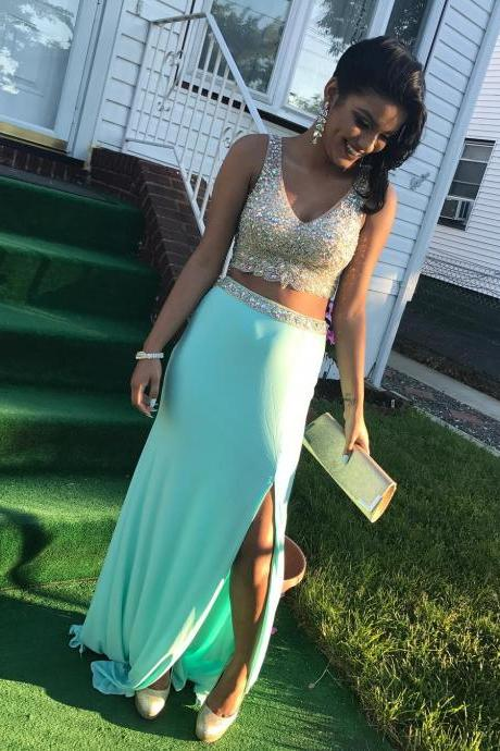 Fitted Mint Green V Neck Two Piece Prom Dress,Jersey Formal Gown With Beaded Crop Top