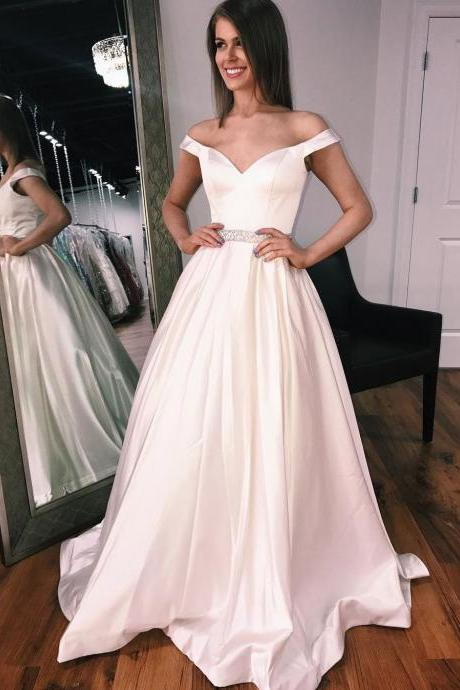 2018 Off The Shoulder Ivory Princess Prom Dress,A Line Satin Formal Gown With Beaded Waist