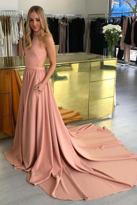 2018 Prom Dress Blush Pink, Formal Evening Gown A Line Open Back Sweep Train