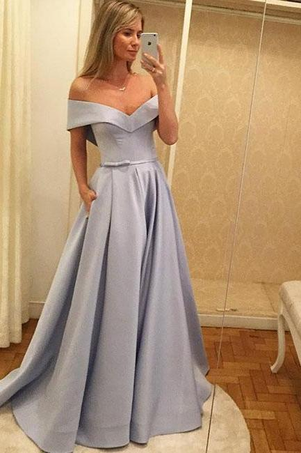 Elegant Off The Shoulder Prom Dress Silver , A Line Satin Formal Gown Elsa Hosk Same Style
