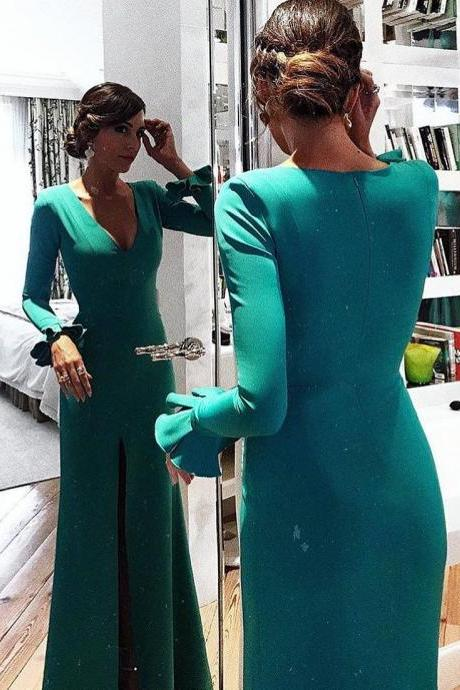 Teal V Neck Sheath Formal Evening Gown Long Sleeves,Mother Of Bridal Dress With Side Slit