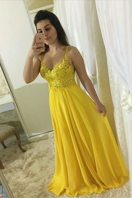 Illusion Long Prom Dress Yellow,Chiffon Sheer Back Formal Evening Gown With Lace Appliques Bodice