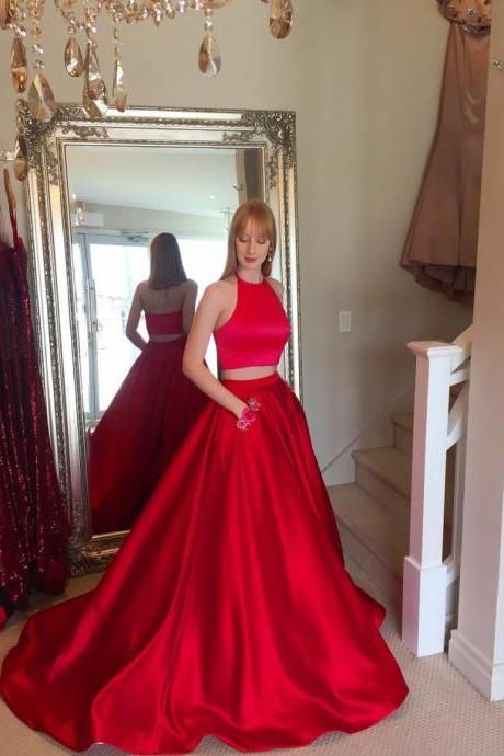 Sleeveless Red Prom Dress Two Piece, Halter A Line Formal Evening Gown For Senior prom