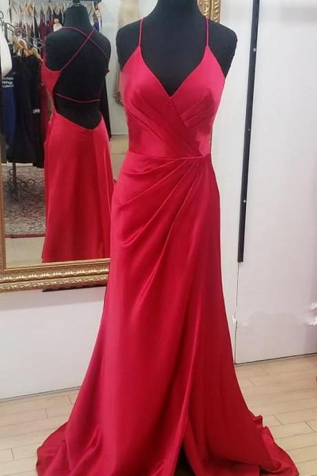 Fit And Flare Red V Neck Formal Evening Gown Open Back Prom Dress With Slit Skirt