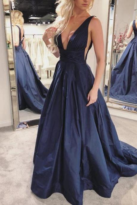 Sexy Deep V Neck Formal Evening Gown Sleeveless Navy Blue A Line Prom Dress With Open Back