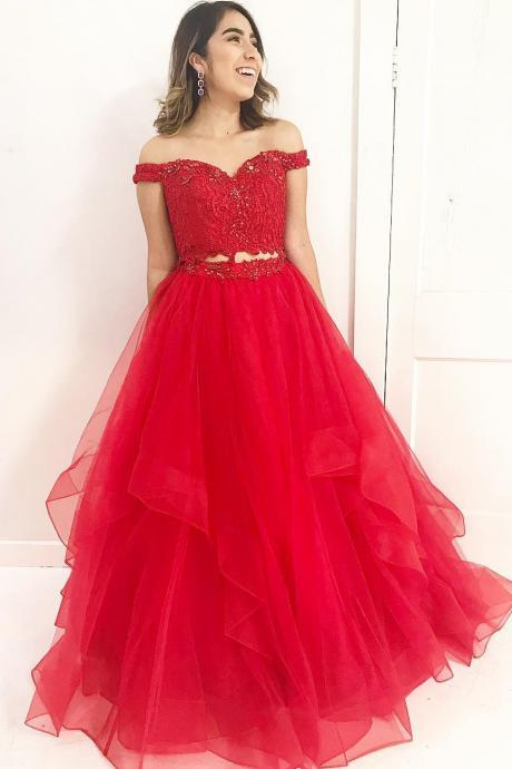 2018 Off The Shoulder Red Prom Dress Two Piece Formal Evening Gown With Lace Crop Top