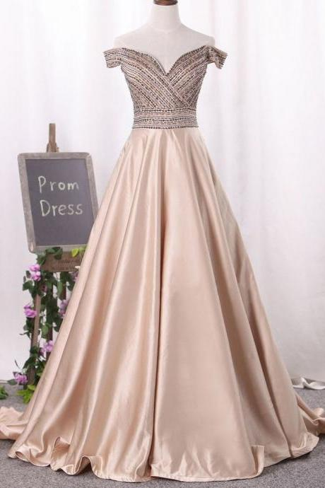New Arrival Beaded Champagne Prom Dress A Line Formal Evening Gown Off The Shoulder