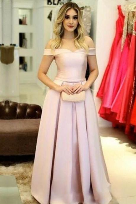 Off The Shoulder Pink Prom Dress, Homecoming Dress A Line Satin Formal Evening Gown Long