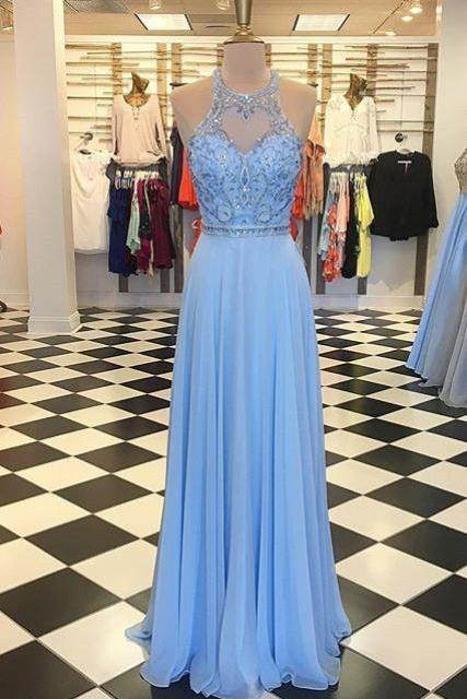 Beaded Sleeveless Prom Dress Light Blue Chiffon Formal Evening Gown With Cut Out Shoulder