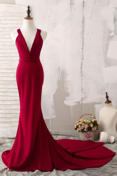 Dark Red Sexy V Neck Prom Dress Sleeveless Mermaid Formal Evening With Cross Open Back