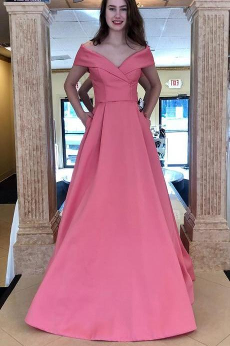 Rose Pink Off The Shoulder Prom Dress A Line Long Formal Evening Gown For Graduation