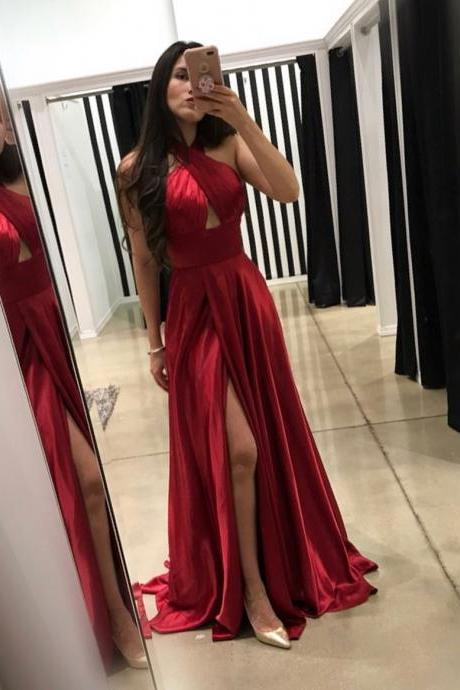 Halter Prom Dress Red Formal Evening Gown Slit Wedding Party Dress With Cut Out Bodice