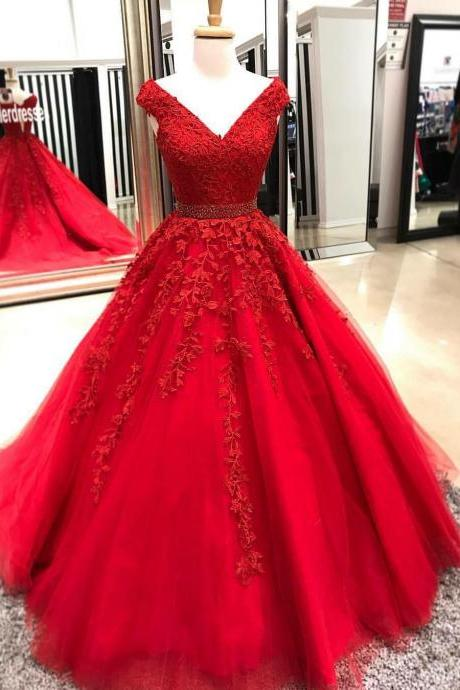 Princess V Neck Ball Gown Prom Dress Cap Sleeve Wedding Party Dress With Lace Appliques