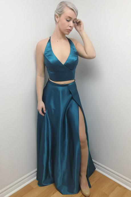 New Sexy V Neck Two Piece Party Dress Teal Long Formal Evening Gown With High Slit