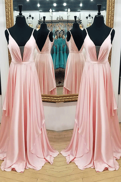 Plunging V Neck Bridesmaid Dress Blush Pink Long Formal Evening Gown With Open Back
