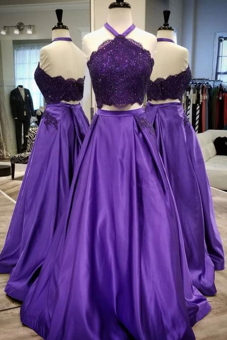 Halter Two Piece Prom Dress Purple Formal Evening Gown With Lace Applique Crop Top