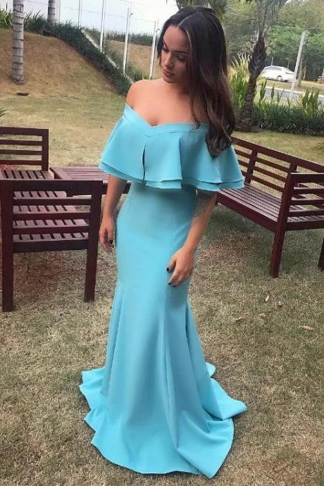 Gorgeous Off The Shoulder Formal Evening Gown Mermaid Prom Dress With Flouncing