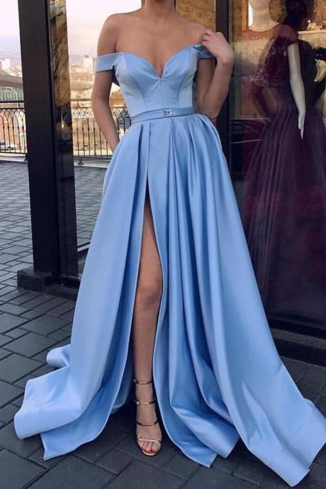 Baby Blue Prom Dress Off The Shoulder A Line Formal Gown Wedding Party Dress With Side Slit