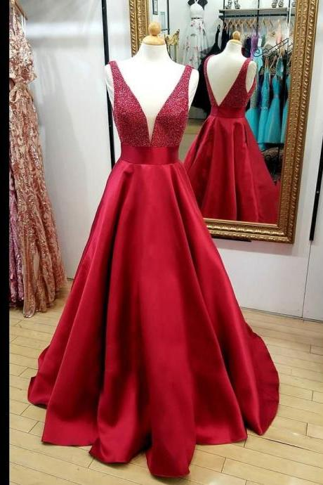 Beaded Red V Neck Prom Dress Sleeveless A Line Formal Gown Wedding Party Dress Open Back