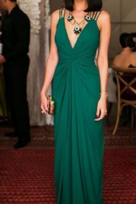 Sexy Green V Neck Prom Dress Draped Sheath Draped Long Party Dress With Open Back