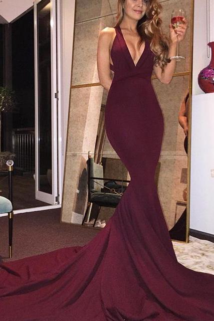 Sexy V Neck Formal Evening Gown Mermaid Open Back Prom Dress With Sweep Train