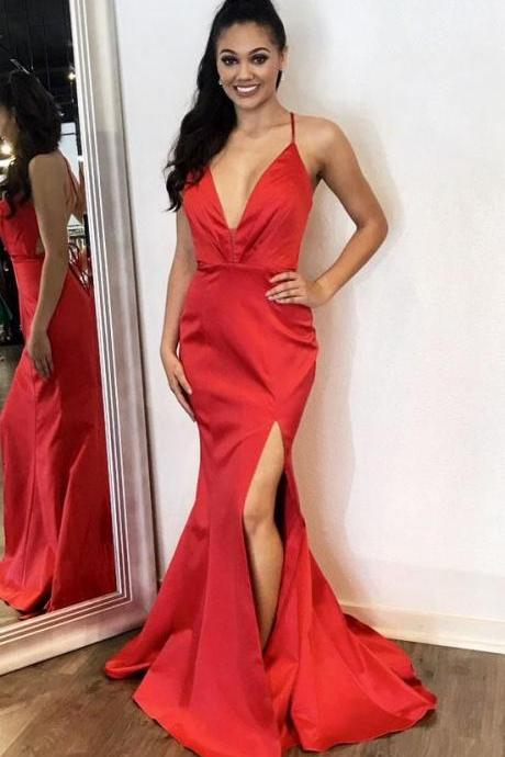 Sexy Deep V Neck Formal Evening Gown Fitted Red Backless Prom Dress With Side Slit Skirt