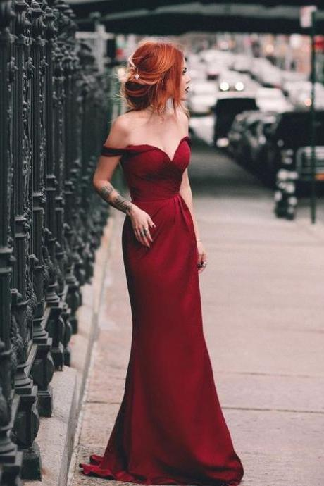 Wine Red Off The Shoulder Prom Dress Sheath Jersey Formal Evening Gown Long Party Dress