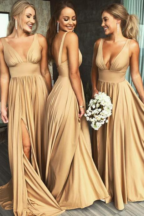 Sexy Dark Champagne V Neck Prom Formal Gown Floor Length Bridesmaid Dress With Side Slit