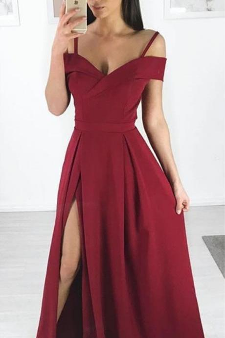 Formal Off The Shoulder Long dresses For Women Evening, Burgundy Prom Dress With Side Slit