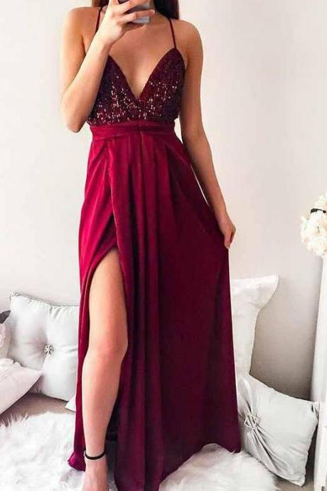 Sexy Long Maxi Party Dress Deep V Neck Burgundy Backless Forma Gown With Sequined Bodice