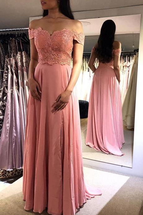Gorgeous Off The Shoulder Prom Dress Chiffon Formal Evening Gown With Lace Appliques Bodice