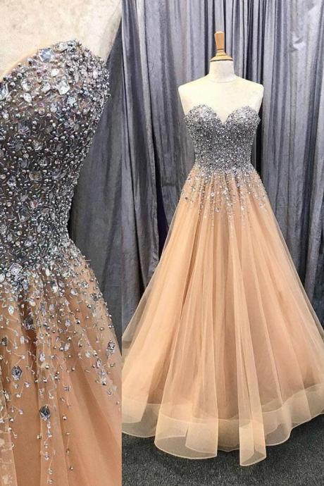Free Custom Made Prom Dress Sweetheart A Line Champagne Formal Gown With Beaded Bodice