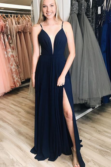 14a4d68b75d Plunging V Neck Evening Dress For Women Formal Navy Blue Chiffon Bridesmaid  Dress Side Slit