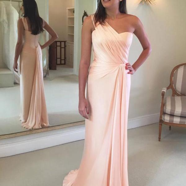 Blue Pink One Shoulder Formal Gown Long Bridesmaid Dress Chiffon Wedding Party Dress