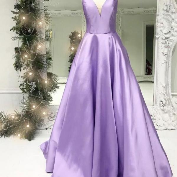 2018 Lavender Plunging V Neck Formal Evening Gown Sleeveless Prom Dress A Line