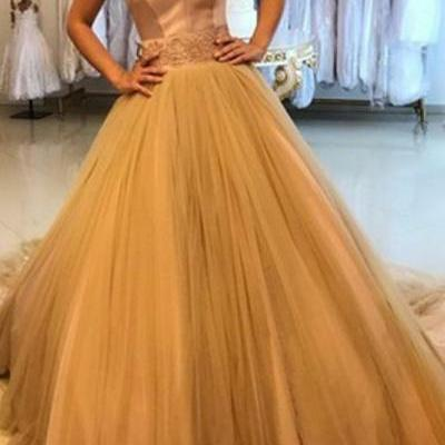 2019 Gorgeous Sweetheart Prom Dress Ball Gown Wedding Party Dress Gold