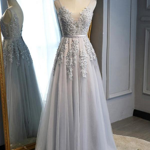 Designer Silver Grey Tulle Lace Applique V-Neck A-Line Prom Dress, Formal Gown, Party Dresses